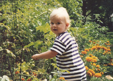 Grayson gardening at 1 yo